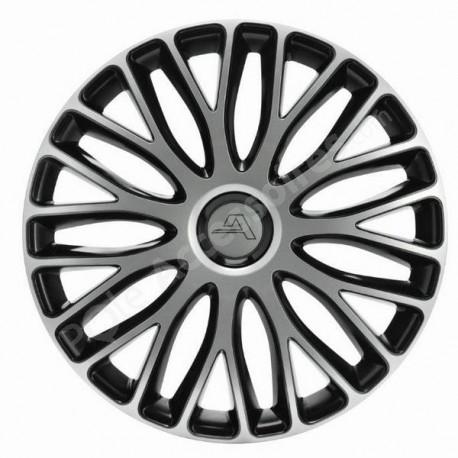 Enjoliveur 15 pouces noir argent bicolore MILAN - pack 4 enjoliveurs