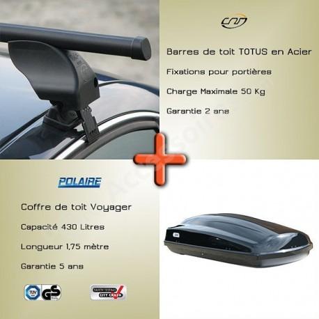 attractive price professional sale save up to 80% Pack Barres de toit Totus 112 cm fixation portières et Coffre toit - 127