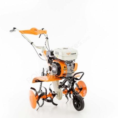 Motobineuse 7 Cv 6 fraises vitesses 2AV - 1 AR charrue - butteur - roues agraires 400x8 Ruris 7099