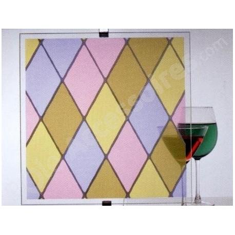 Film vitrail losange rose, mauve et jaune vtl 530 (0,60 x 2,00 m)