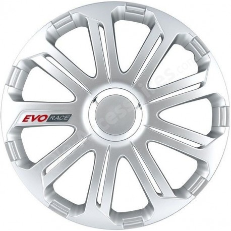 Enjoliveur 16 pouces argent EVO RACE - pack 4 enjoliveurs