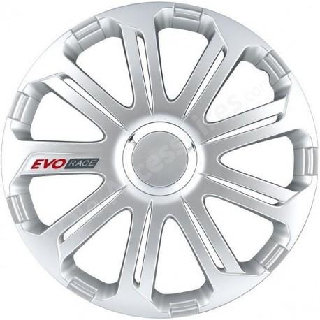 Enjoliveur 15 pouces argent EVO RACE - pack 4 enjoliveurs