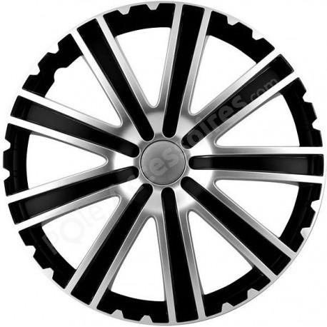 Enjoliveur 14 pouces noir et argent RACING TORO - pack 4 enjoliveurs