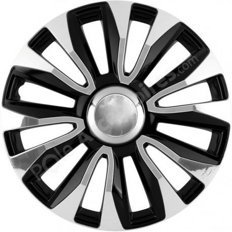 Enjoliveur 14 pouces noir et chrome AVALON - pack 4 enjoliveurs
